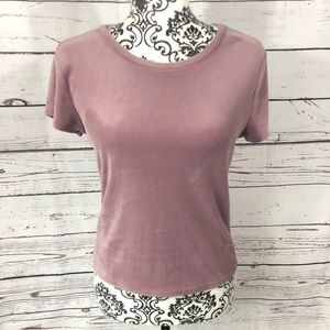 "Garage Velour ""Oh So Soft""  T-shirt Top Mauve  XS"